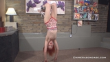 Inverted Topless Suspension For Redhead Anita In Vintage Swim Suit