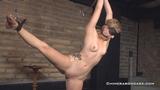 Gym, lingerie and naked wide legged bondage