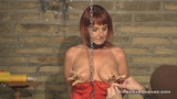 Hooked, Vibrated Pussy With Pegged Breasts And A Spanking For Beau Diamonds