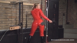 Lucy Lauren's Catsuit Spanking And Breast Whip