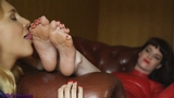 SS0295V2: Ariel Anderssen worships Zoe Page's soles! (Foot Worship Part Two)