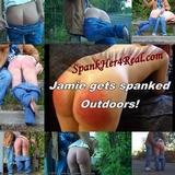 Jamie gets spanked outdoors.