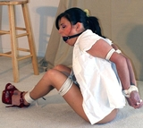 Lola Lynn: Cinched Elbows & Red Hands. High Heels, Elbows Tied and Touching, Ball Gagged