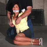 Lola Lynn: RopExpert Unbuttoning Her Blouse For Beast Inspection. Bra, Sexy Strappy High Heels, Fondled, Cleave Gagged
