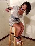 Black Strap Stool Strappado starring Lola Lynn. Strappado, Knit Dress, Boobs, Ball Gagged, Leather traps, High Heels