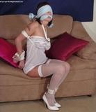 Blindfolded, Cleave Gagged in White: Lola Lynn. White High Heels, Pumps, White Stockings, White Slip, Cleave Gagged, Blindfolded