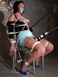 Audrey, Chair Tied, Boobs Exposed, Vibrated to Pleasure