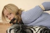 Blue Sweater Hogtie Struggle with Nadya