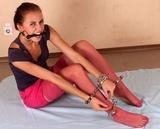 Handcuff Puzzle and Bit Gagged. Stockinged Feet, Bit Gagged, Handcuffs, Ankle Cuffs