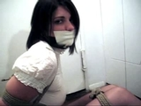 Tightly Bound In Her Short Business Skirt and Button Down Blouse