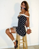 Katrina Cassidy Tied Up Tart - polka dot dress, cinched ropes, open toed high heels, ball gagged