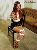 In Stacie 27 my beauty is bound and gagged in a leather mini skirt with her top removed, I love it when she puts her feet out and wiggles them trying to get the ropes off ... sorry babe.