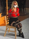 Sexy Blonde Bound, Gagged, Breasts Exposed!