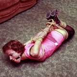 Stark Hogtied, DuctTapeGagged, Lots of Struggling ... But No Escape. Ball Gagged, Stockings, High Heels, Dress, Hogtied