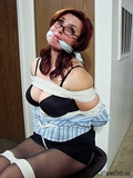 Sexy Book Worm Bound & Gagged - Eye glasses, bra, cleavage, lots of tight ropes, pantyhose