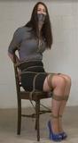 Belle Davis is the Chair Tied Secretary: Chair tied, peek toe pumps, hemp ropes, tape gag, blouse