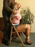 Kate Blonde, Chair Tied & Harassed, Blonde, ball gagged, blue jeans