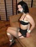 Stripped to Her Bra, Panties, Silk Stockings & High Heels: Marlo Marquis