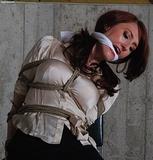 Tight Secretary Bondage Struggle - Satin Blouse, Chair Tied, Hemp Rope Harness, Mini Skirt, Cleave Gagged