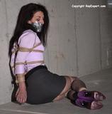 Slave Lisa's Stockinged Feet Struggle