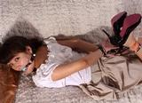 Asiana Hogtied Struggle - Cute peasant blouse, skirt and high heels, scarf hogtie struggle, ball gagged