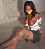 Destiny Roped, Tape Gagged and Exposed In The Basement: Stockings, Stockinged Feet, Tape Gagged, Boobs, Tits, Hemp Ropes, Rope Harness