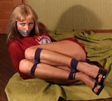 The Escape! Dress rehearsal, peek toe pump high heels, magician's cape, bra, panties, rope tied, tape gagged and struggling