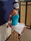 Lola Lynn Blindfolded and Tape Gagged. High Heels Wedges, Elbows Tied, Tape Gagged, Blindfolded