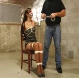 Chair Tied & Tape Gagged - Dress, Tape Gagged, Stockings, High Heels