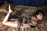 Happy Hemp Rope Struggle - Hogtied, bare feet, smile