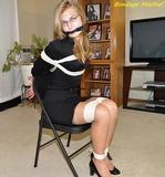 Melissa's Little Black Dress Bondage. Blonde, Chair Tied, High Heels, Rope Breast Harness, Eyeglasses