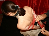 Wendy - Big Red Ball Gag And Hogtied!