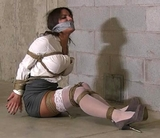 Tight ropes and mouth stuffing tape gag