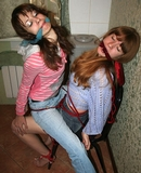The Escape. Multiple Women Tied, Blue Jeans, Cleave Gagged, High Heels, Chair Tied