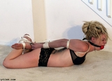 Welcome To BadMan's World ... Slowly Untied - Blonde, Ball Gagged, Elbows Tied and Touching, Bra, Panties, Bare Feet, Hogtied, Brutal