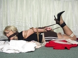 Hogtied With Her Own Stockings - Hogtied, stockings, blonde