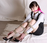 Jessica's Peek Top Pump Rope Escape Challenge - Peek Toe Pumps, High Heels, Cleave Gagged, Hemp Ropes