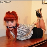 Cherry Bossom Office Bound - Redhead, Hogtied, Ankle Strap High Heels, Business Skirt, Cleave Gagged
