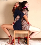 Ekaterina & Jessica: Roped Back to Back Pleasuring Each Other