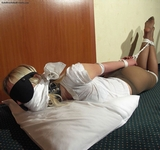 Cinched Elbows, Blindfold and Pantyhose Hogtie