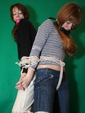 Tigra and Kissa Back to Back Crotch Rope Struggle
