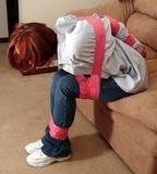 Classic Tight Duct Tape Bondage. Redhead, blue jeans, tennis shoes, button down blouse