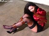 Christina Carter: Red Satin Blouse Bondage