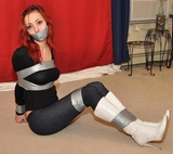 Jade's Yoga Pants, Duct Taped For Spanking! Redhead, tape gagged, tape tied, yoga pants, boots, stilettos, high heels