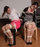 I've Got Two Tightly Bound, Gagged & Struggling: Victoria Channing & Adrianne:  Multiple Women Bound, Chair Tied, Cleave Gags