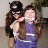 Celia and Bunny Bandit: Surprised By The Intruder! Knotted Cleave Gag, Dress