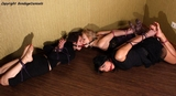 27 Minute Bondage Video - Lilith, Juiana & Sammi - Double Ballgag Triple Hogtie Struggle