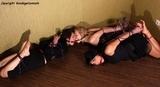 27 Minute Bondage Video - Lilith, Juiana & Sammi - Double Ballgag Triple Hogtie Struggle