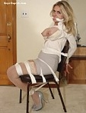 Secretary Chair Tied and Breasts Exposed. High Heels, Boobs, Cleave Gagged, Blonde