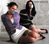 Betty Jaded And Lola Lynn: Two Secretaries Struggling For Freedom. Skirts, High Heels, Multiple Women Bound, High Heels
